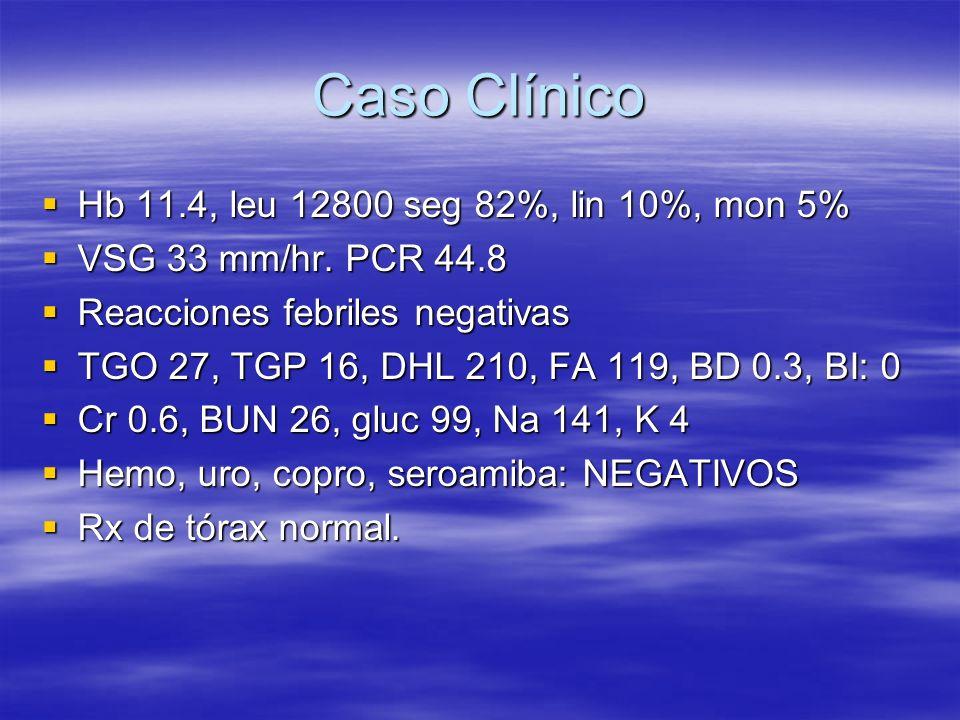 Caso Clínico Hb 11.4, leu 12800 seg 82%, lin 10%, mon 5% Hb 11.4, leu 12800 seg 82%, lin 10%, mon 5% VSG 33 mm/hr. PCR 44.8 VSG 33 mm/hr. PCR 44.8 Rea