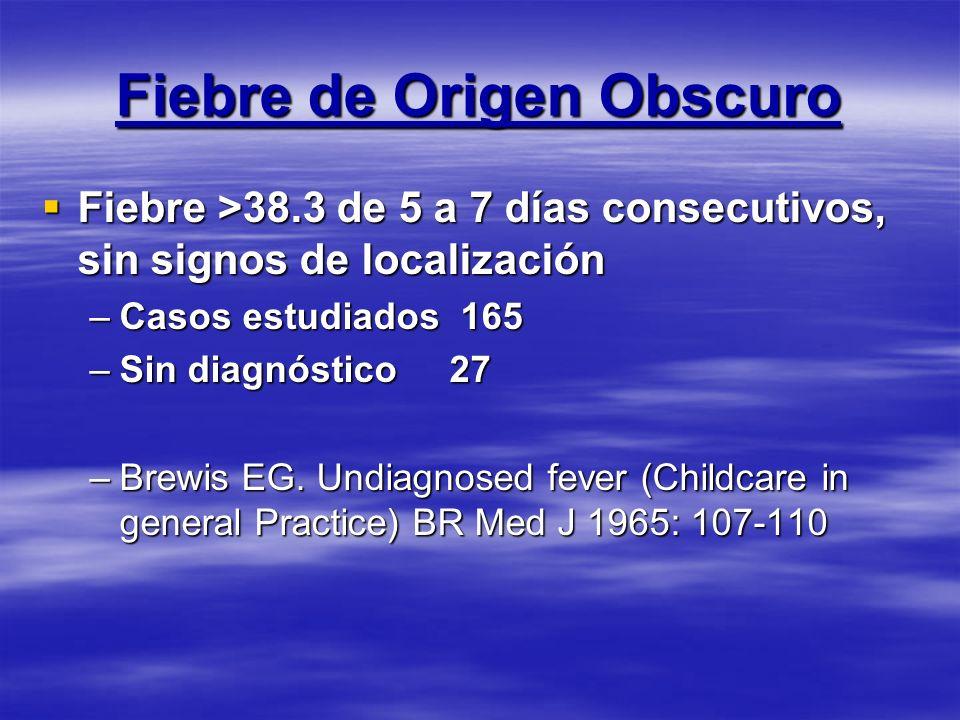 Fiebre de Origen Obscuro Fiebre >38.3 de 5 a 7 días consecutivos, sin signos de localización Fiebre >38.3 de 5 a 7 días consecutivos, sin signos de lo