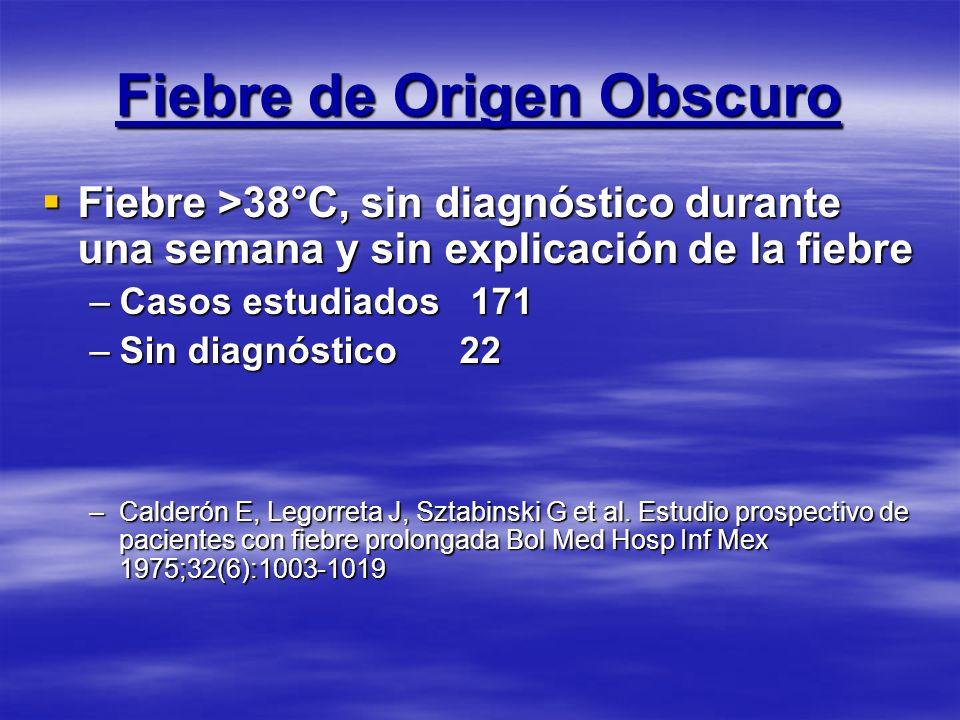 Fiebre de Origen Obscuro Fiebre >38°C, sin diagnóstico durante una semana y sin explicación de la fiebre Fiebre >38°C, sin diagnóstico durante una sem
