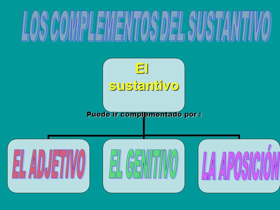 Elsustantivo Puede ir complementado por :