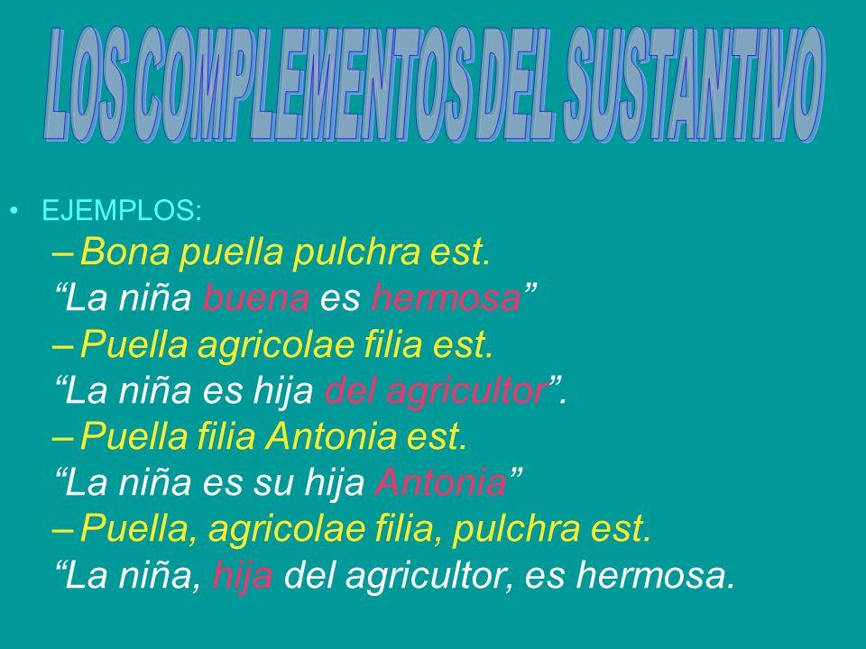 EJEMPLOS: –Bona puella pulchra est. La niña buena es hermosa –Puella agricolae filia est. La niña es hija del agricultor. –Puella filia Antonia est. L