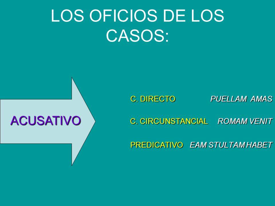 LOS OFICIOS DE LOS CASOS: C. DIRECTO PUELLAM AMAS C. CIRCUNSTANCIAL ROMAM VENIT PREDICATIVOEAM STULTAM HABET PREDICATIVO EAM STULTAM HABET ACUSATIVO