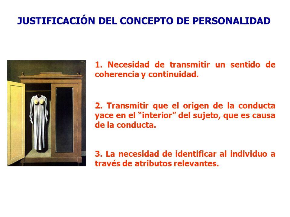 JUSTIFICACIÓN DEL CONCEPTO DE PERSONALIDAD 1. Necesidad de transmitir un sentido de coherencia y continuidad. 3. La necesidad de identificar al indivi