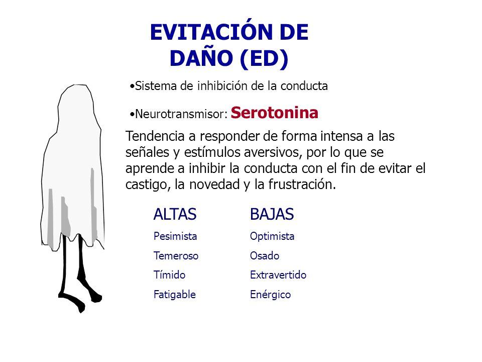 EVITACIÓN DE DAÑO (ED) Sistema de inhibición de la conducta Neurotransmisor: Serotonina Tendencia a responder de forma intensa a las señales y estímul