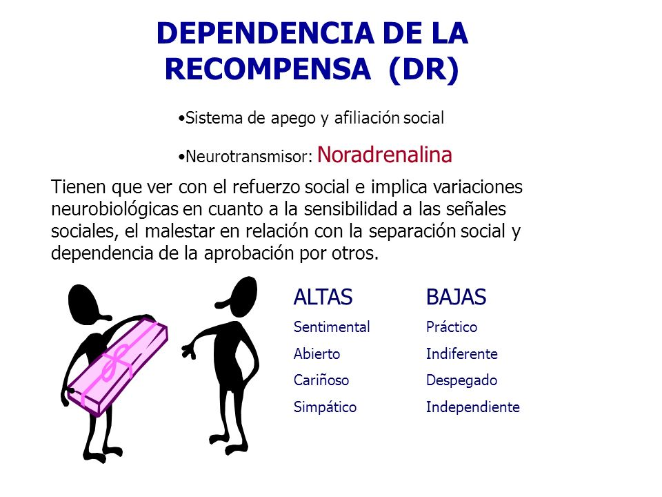 DEPENDENCIA DE LA RECOMPENSA (DR) Sistema de apego y afiliación social Neurotransmisor: Noradrenalina Tienen que ver con el refuerzo social e implica