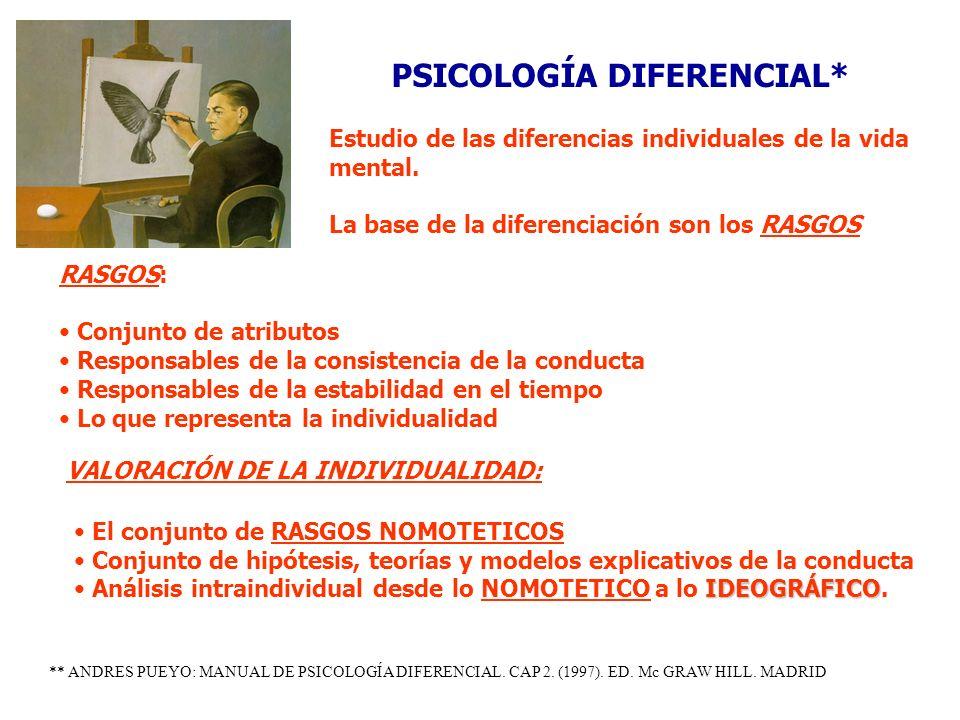 PSICOLOGÍA DIFERENCIAL* Estudio de las diferencias individuales de la vida mental. La base de la diferenciación son los RASGOS RASGOS: Conjunto de atr