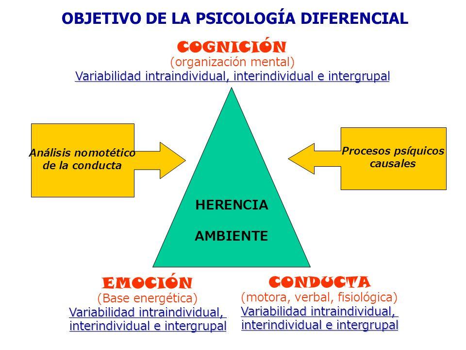 HERENCIA AMBIENTE OBJETIVO DE LA PSICOLOGÍA DIFERENCIAL EMOCIÓN (Base energética) Variabilidad intraindividual, interindividual e intergrupal CONDUCTA