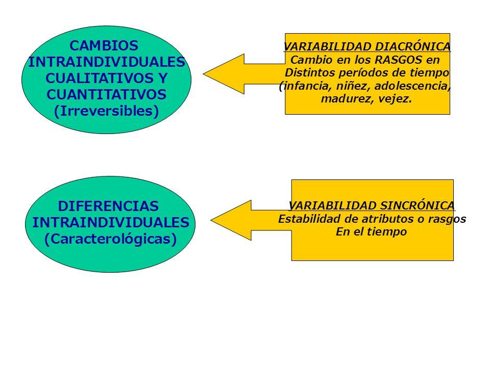 VARIABILIDAD DIACRÓNICA Cambio en los RASGOS en Distintos períodos de tiempo (infancia, niñez, adolescencia, madurez, vejez. CAMBIOS INTRAINDIVIDUALES