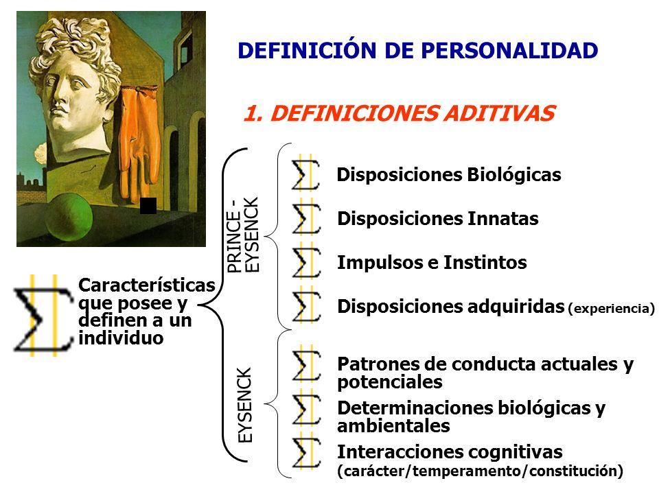DEFINICIÓN DE PERSONALIDAD 1. DEFINICIONES ADITIVAS Características que posee y definen a un individuo Disposiciones BiológicasDisposiciones InnatasIm
