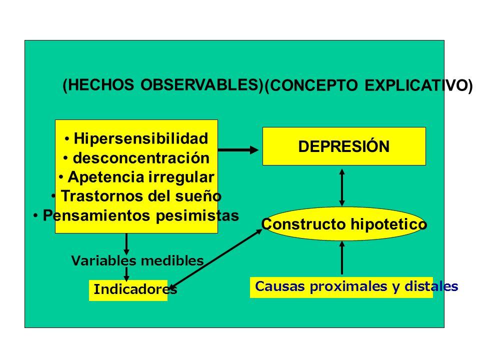 Hipersensibilidad desconcentración Apetencia irregular Trastornos del sueño Pensamientos pesimistas (HECHOS OBSERVABLES) DEPRESIÓN Constructo hipoteti