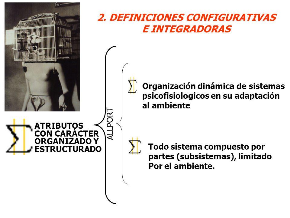 2. DEFINICIONES CONFIGURATIVAS E INTEGRADORAS ATRIBUTOS CON CARÁCTER ORGANIZADO Y ESTRUCTURADO Organización dinámica de sistemas psicofisiologicos en