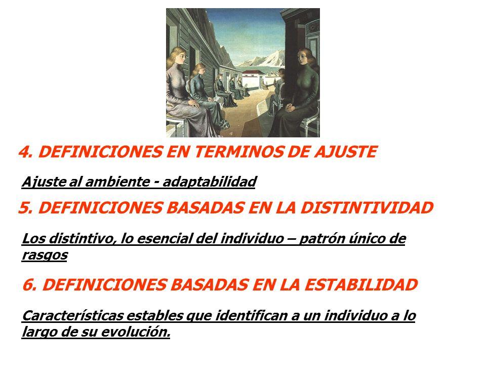 4. DEFINICIONES EN TERMINOS DE AJUSTE Ajuste al ambiente - adaptabilidad 5. DEFINICIONES BASADAS EN LA DISTINTIVIDAD 6. DEFINICIONES BASADAS EN LA EST