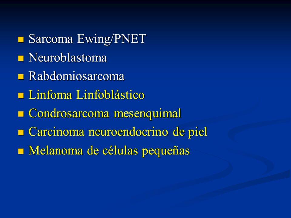 Neuroblastoma BIOLOGIA MOLECULAR: BIOLOGIA MOLECULAR: Amplificación protoncogen N-Myc (20-25%) Amplificación protoncogen N-Myc (20-25%) Translocación no balanceada con ganancia material en 17q-23q (50%) Translocación no balanceada con ganancia material en 17q-23q (50%) Pérdida bandas cromosómicas 1p36 y 11p23 Pérdida bandas cromosómicas 1p36 y 11p23 Hibridación in situ para N-Myc y cr 1p