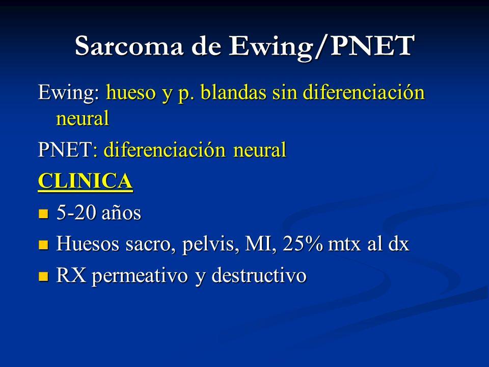 Sarcoma de Ewing/PNET Ewing: hueso y p. blandas sin diferenciación neural PNET: diferenciación neural CLINICA 5-20 años 5-20 años Huesos sacro, pelvis
