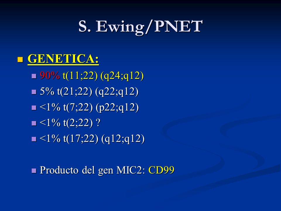 S. Ewing/PNET GENETICA: GENETICA: 90% t(11;22) (q24;q12) 90% t(11;22) (q24;q12) 5% t(21;22) (q22;q12) 5% t(21;22) (q22;q12) <1% t(7;22) (p22;q12) <1%
