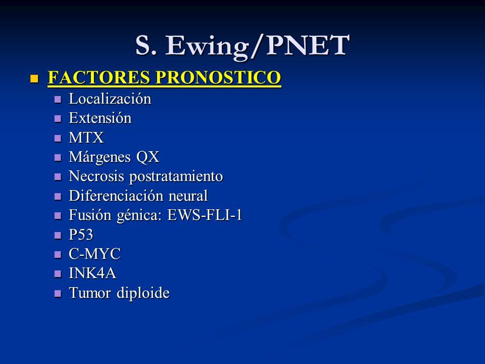 S. Ewing/PNET FACTORES PRONOSTICO FACTORES PRONOSTICO Localización Localización Extensión Extensión MTX MTX Márgenes QX Márgenes QX Necrosis postratam
