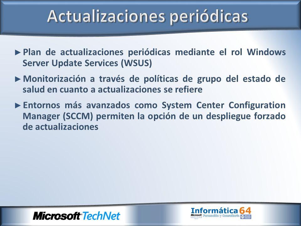 Plan de actualizaciones periódicas mediante el rol Windows Server Update Services (WSUS) Monitorización a través de políticas de grupo del estado de s