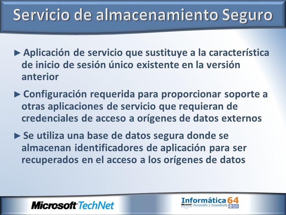 Aplicación de servicio que sustituye a la característica de inicio de sesión único existente en la versión anterior Configuración requerida para propo
