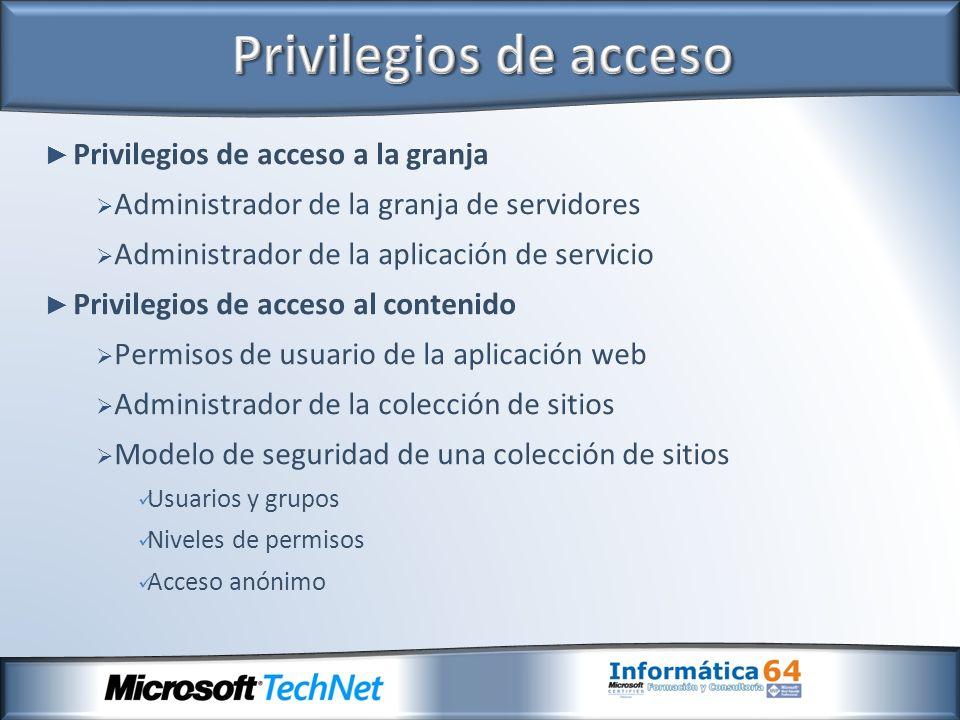 Privilegios de acceso a la granja Administrador de la granja de servidores Administrador de la aplicación de servicio Privilegios de acceso al conteni