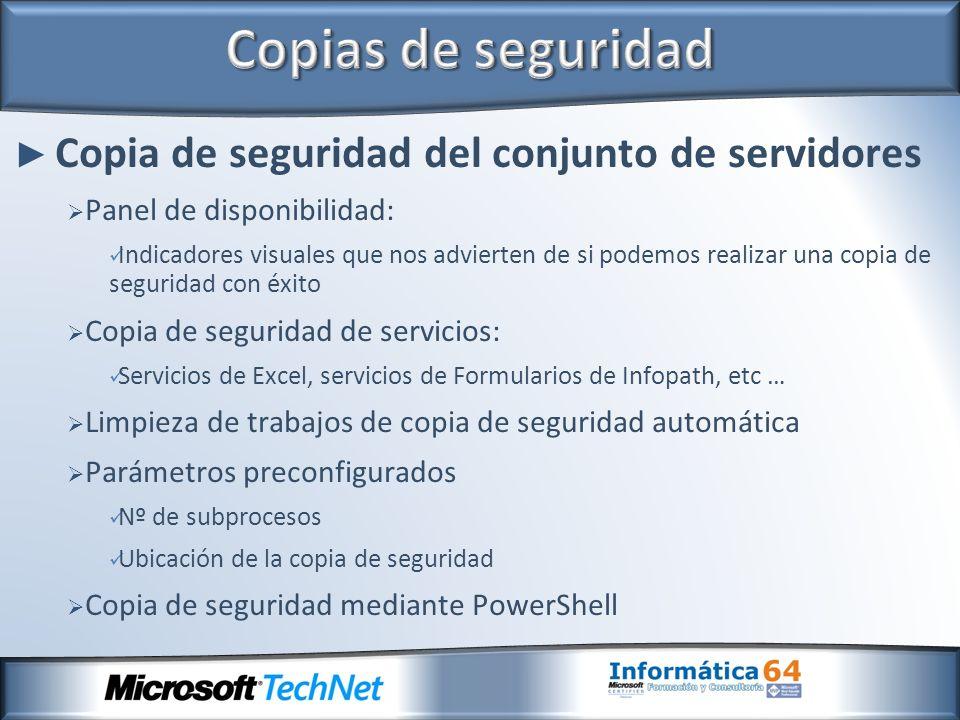 Copia de seguridad del conjunto de servidores Panel de disponibilidad: Indicadores visuales que nos advierten de si podemos realizar una copia de segu