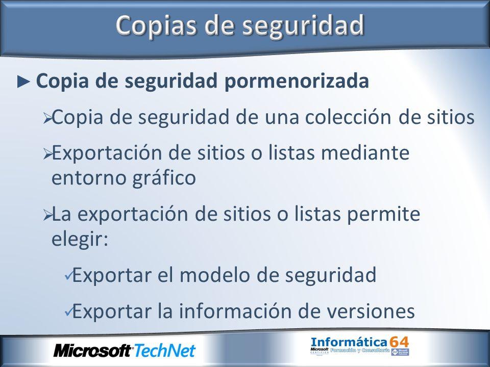Copia de seguridad pormenorizada Copia de seguridad de una colección de sitios Exportación de sitios o listas mediante entorno gráfico La exportación