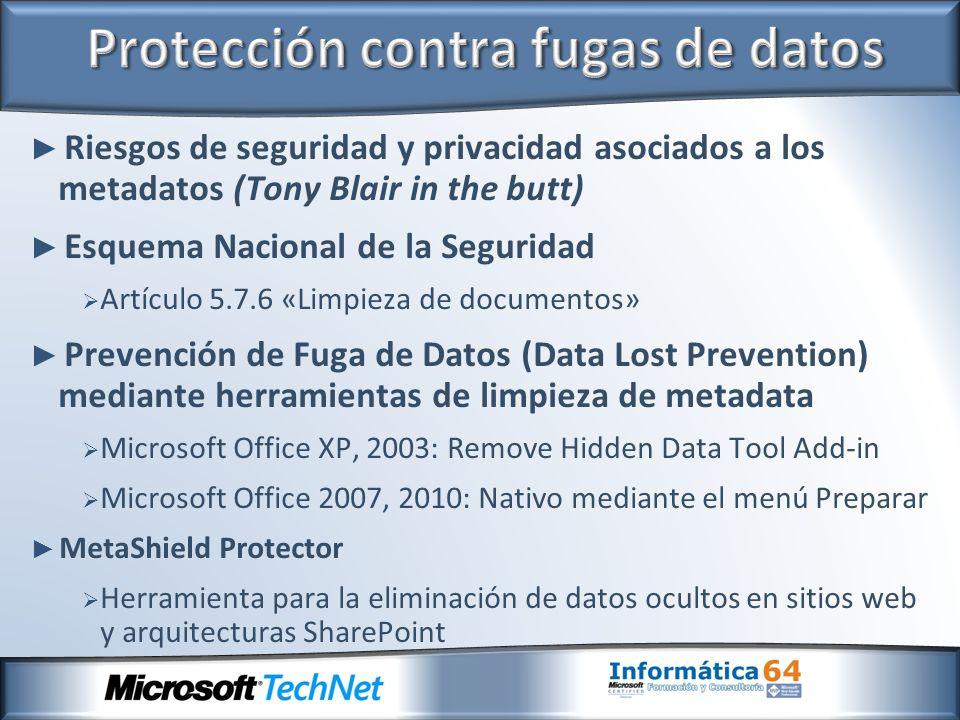 Riesgos de seguridad y privacidad asociados a los metadatos (Tony Blair in the butt) Esquema Nacional de la Seguridad Artículo 5.7.6 «Limpieza de docu