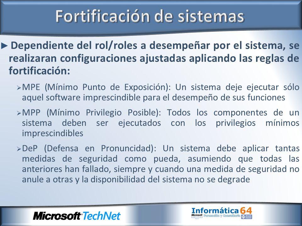 Dependiente del rol/roles a desempeñar por el sistema, se realizaran configuraciones ajustadas aplicando las reglas de fortificación: MPE (Mínimo Punt