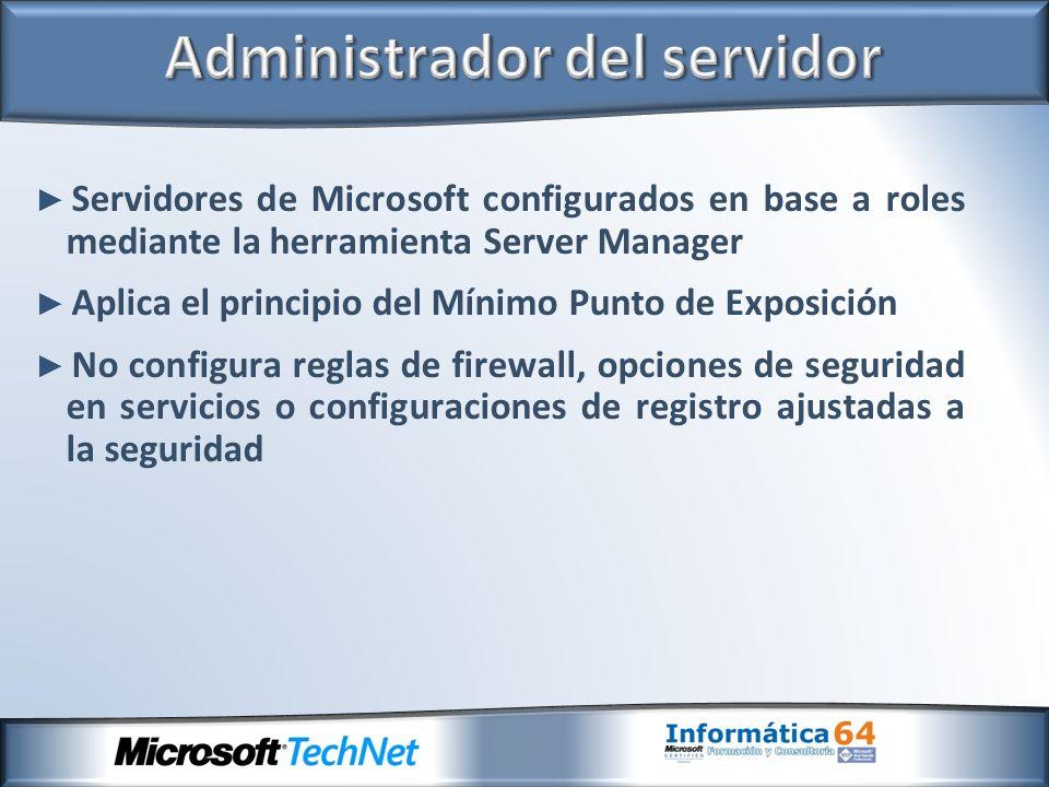 Servidores de Microsoft configurados en base a roles mediante la herramienta Server Manager Aplica el principio del Mínimo Punto de Exposición No conf