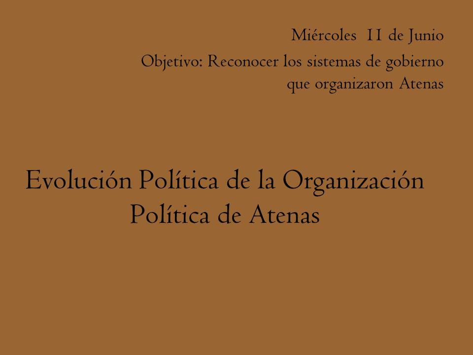 Evolución Política de la Organización Política de Atenas Miércoles 11 de Junio Objetivo: Reconocer los sistemas de gobierno que organizaron Atenas