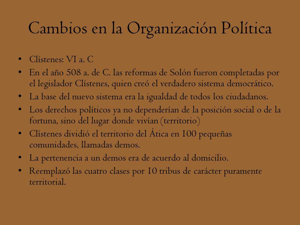 Cambios en la Organización Política Clístenes: VI a. C En el año 508 a. de C. las reformas de Solón fueron completadas por el legislador Clístenes, qu