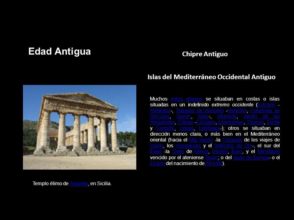 Chipre Antiguo Islas del Mediterráneo Occidental Antiguo Templo élimo de Segesta, en Sicilia.Segesta Muchos mitos griegos se situaban en costas o isla
