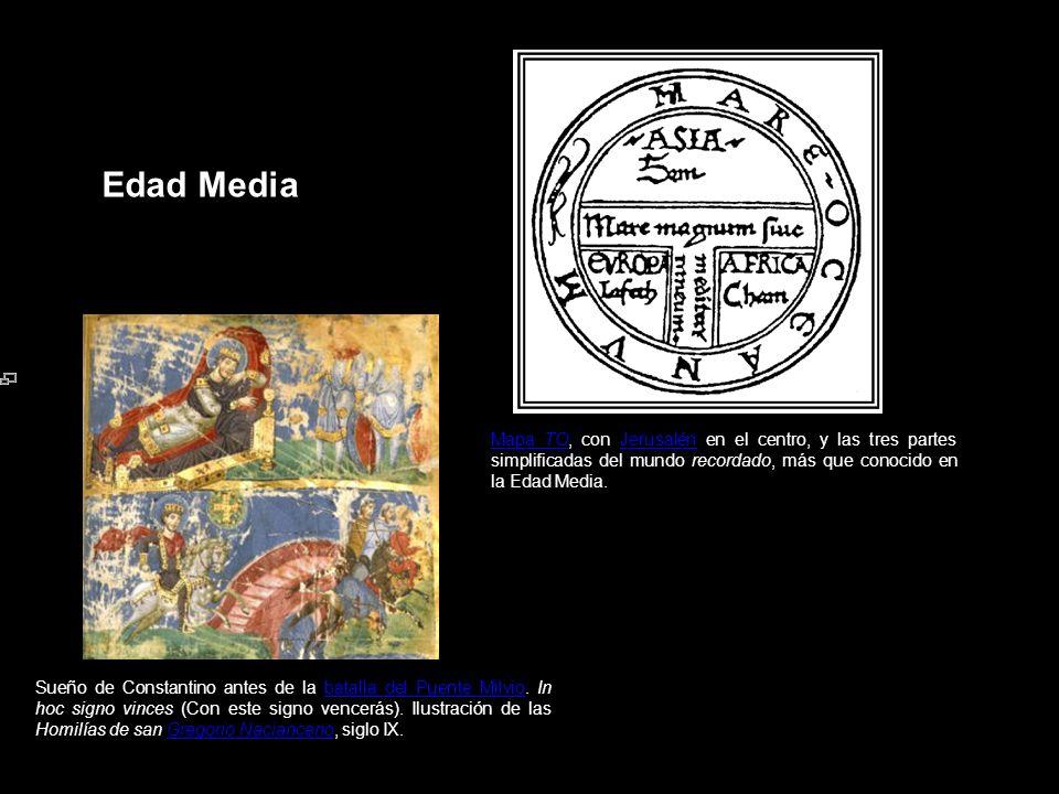 Edad Media Mapa TOMapa TO, con Jerusalén en el centro, y las tres partes simplificadas del mundo recordado, más que conocido en la Edad Media.Jerusalé