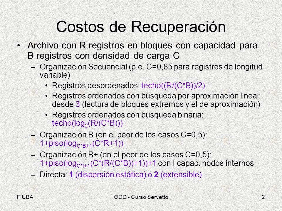FIUBAODD - Curso Servetto2 Costos de Recuperación Archivo con R registros en bloques con capacidad para B registros con densidad de carga C –Organizac