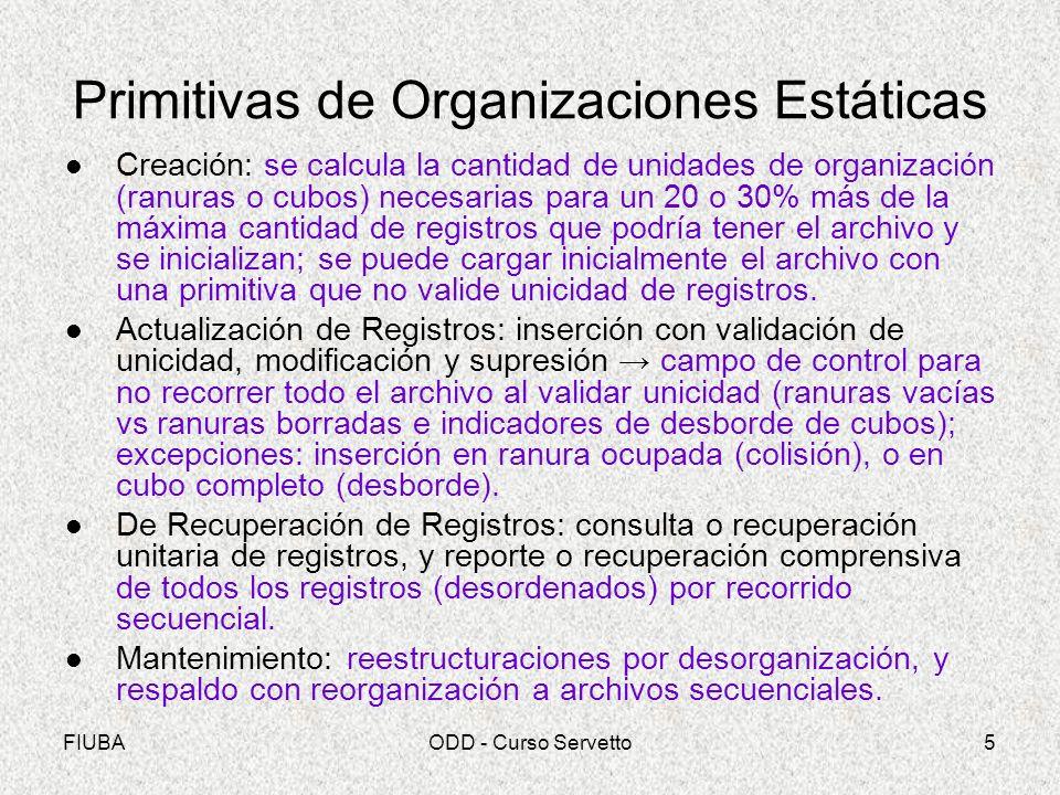 FIUBAODD - Curso Servetto5 Primitivas de Organizaciones Estáticas Creación: se calcula la cantidad de unidades de organización (ranuras o cubos) neces