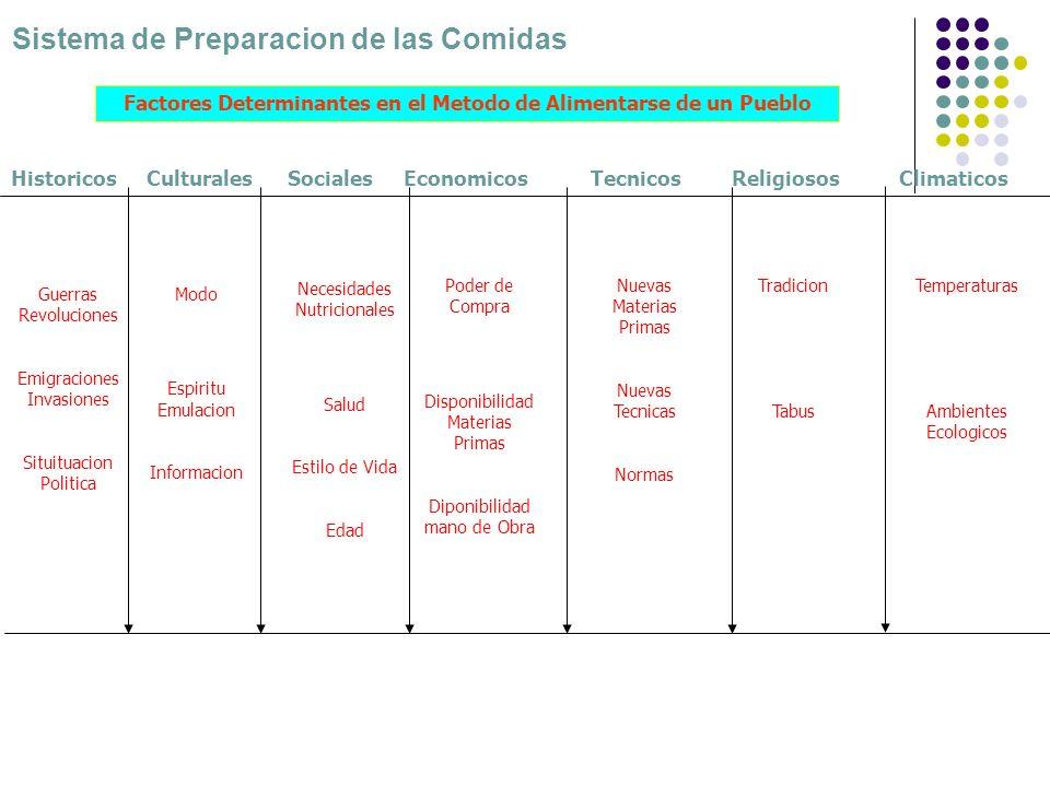 Sistema de Preparacion de las Comidas Guerras Revoluciones Emigraciones Invasiones Situituacion Politica Modo Espiritu Emulacion Informacion Necesidad