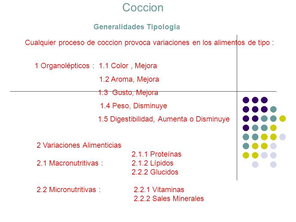 La Coccion Generalidades Tipologia Cualquier proceso de coccion provoca variaciones en los alimentos de tipo : 2 Variaciones Alimenticias 2.1.1 Proteí
