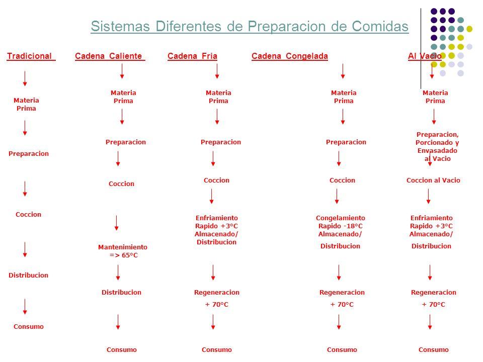 Sistemas Diferentes de Preparacion de Comidas Tradicional Cadena Caliente Cadena Fria Cadena Congelada Al Vacio Materia Prima Preparacion Distribucion