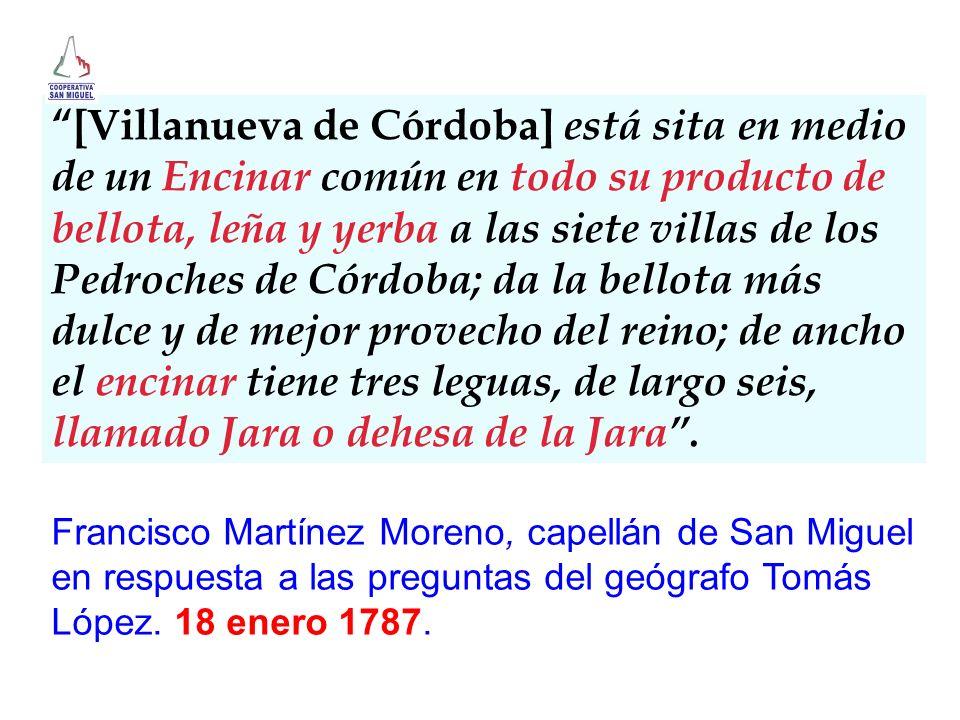 [Villanueva de Córdoba] está sita en medio de un Encinar común en todo su producto de bellota, leña y yerba a las siete villas de los Pedroches de Cór
