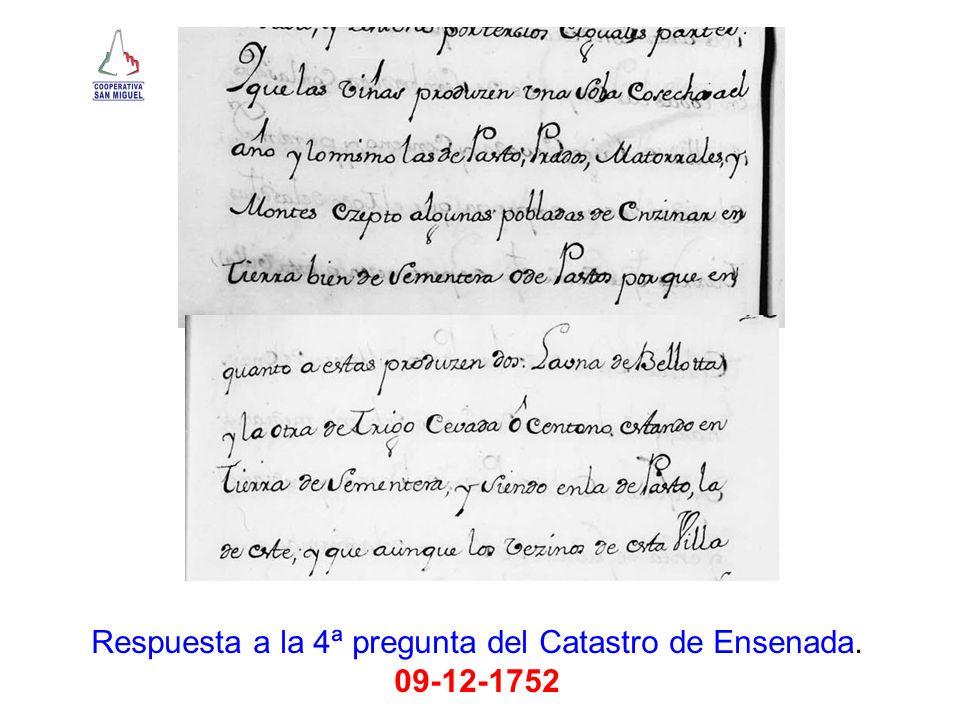 Respuesta a la 4ª pregunta del Catastro de Ensenada. 09-12-1752