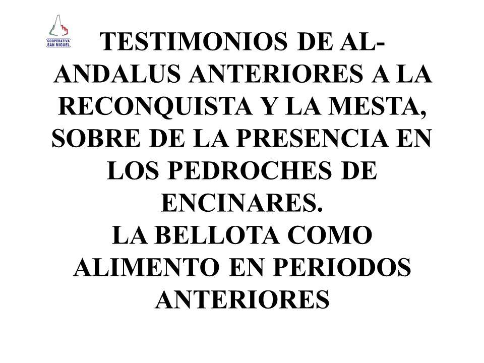TESTIMONIOS DE AL- ANDALUS ANTERIORES A LA RECONQUISTA Y LA MESTA, SOBRE DE LA PRESENCIA EN LOS PEDROCHES DE ENCINARES. LA BELLOTA COMO ALIMENTO EN PE