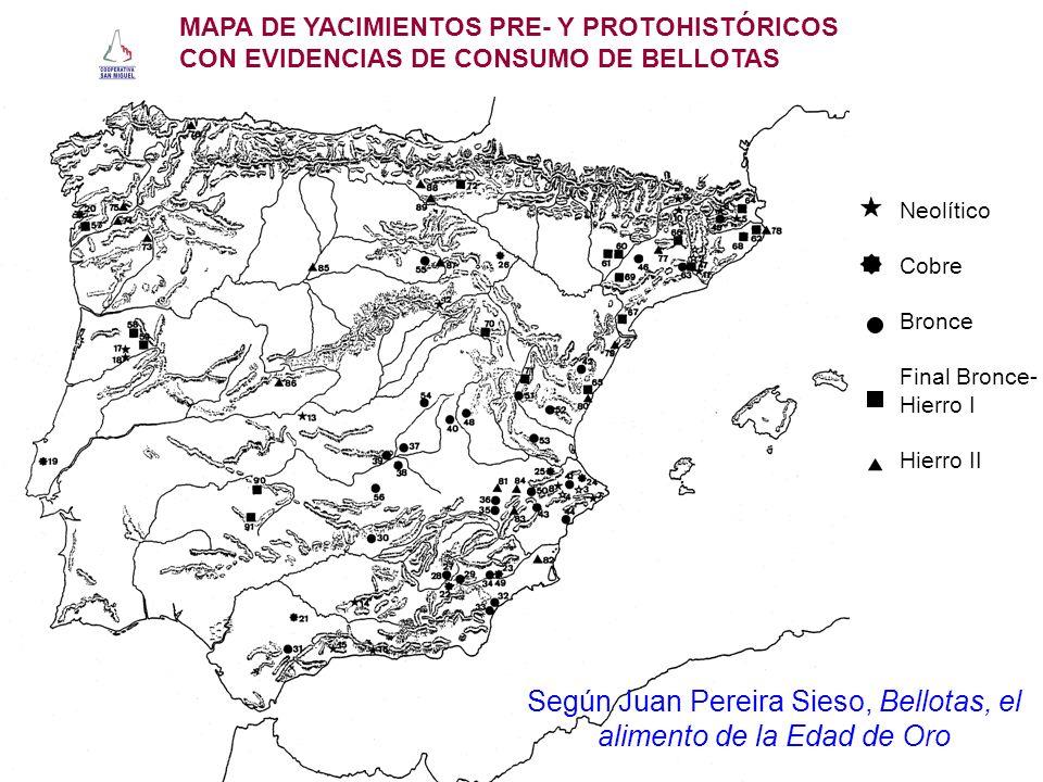Neolítico Cobre Bronce Final Bronce- Hierro I Hierro II MAPA DE YACIMIENTOS PRE- Y PROTOHISTÓRICOS CON EVIDENCIAS DE CONSUMO DE BELLOTAS Según Juan Pe