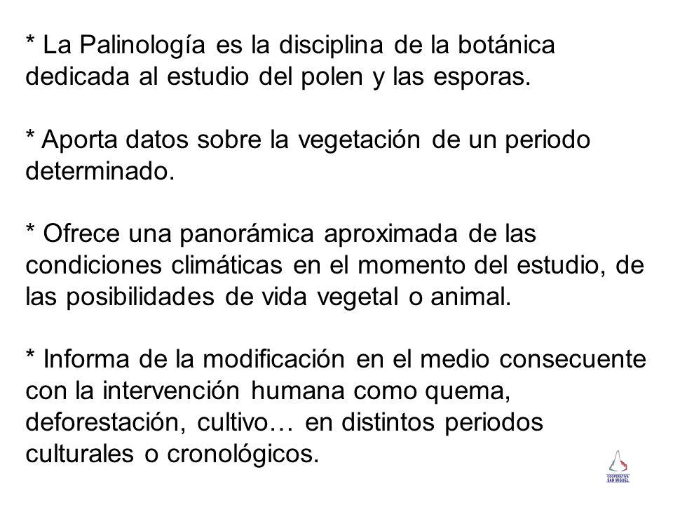 * La Palinología es la disciplina de la botánica dedicada al estudio del polen y las esporas. * Aporta datos sobre la vegetación de un periodo determi