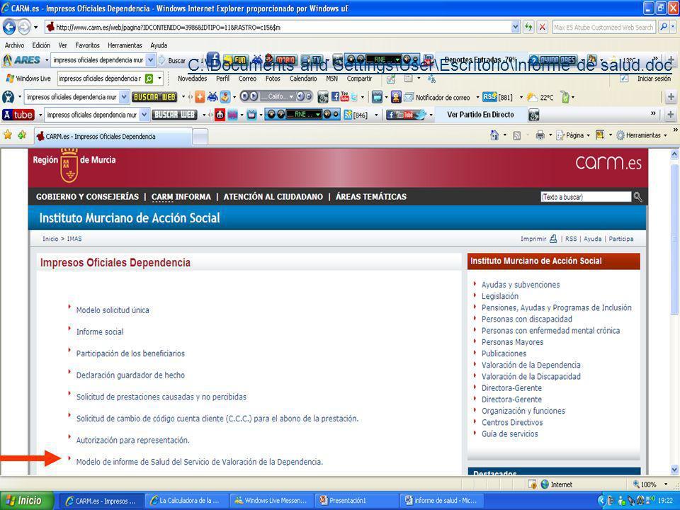 C:\Documents and Settings\User\Escritorio\informe de salud.doc