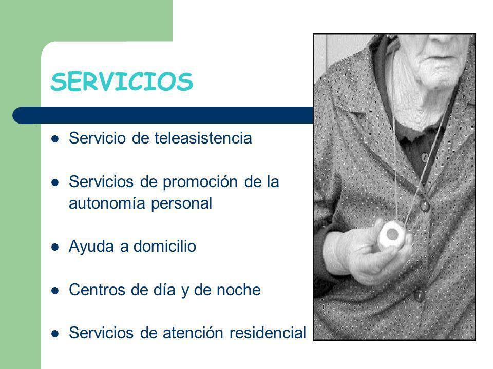 SERVICIOS Servicio de teleasistencia Servicios de promoción de la autonomía personal Ayuda a domicilio Centros de día y de noche Servicios de atención