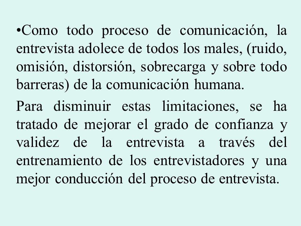 Como todo proceso de comunicación, la entrevista adolece de todos los males, (ruido, omisión, distorsión, sobrecarga y sobre todo barreras) de la comu
