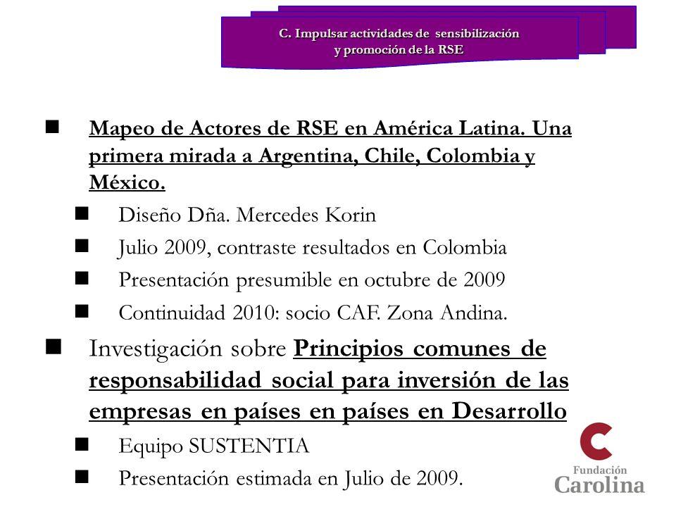 Mapeo de Actores de RSE en América Latina. Una primera mirada a Argentina, Chile, Colombia y México. Diseño Dña. Mercedes Korin Julio 2009, contraste