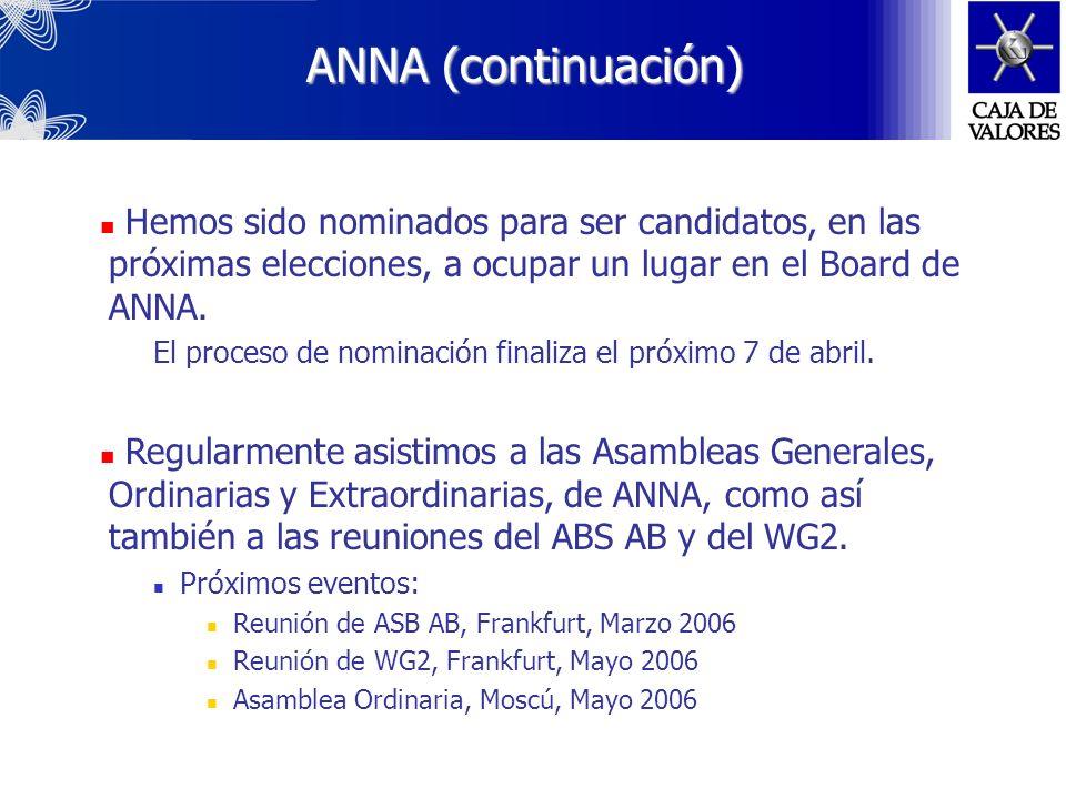 ANNA (Association of National Numbering Agencies) Líder del proyecto ANNA Latinoamericana (ANNA L.A.) El proyecto es la formación de un grupo de traba