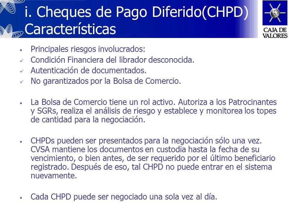 Cada CHPD es una unidad indivisible y está representado por un único instrumento (formulario físico). CHPD puede ser presentado para su negociación ba