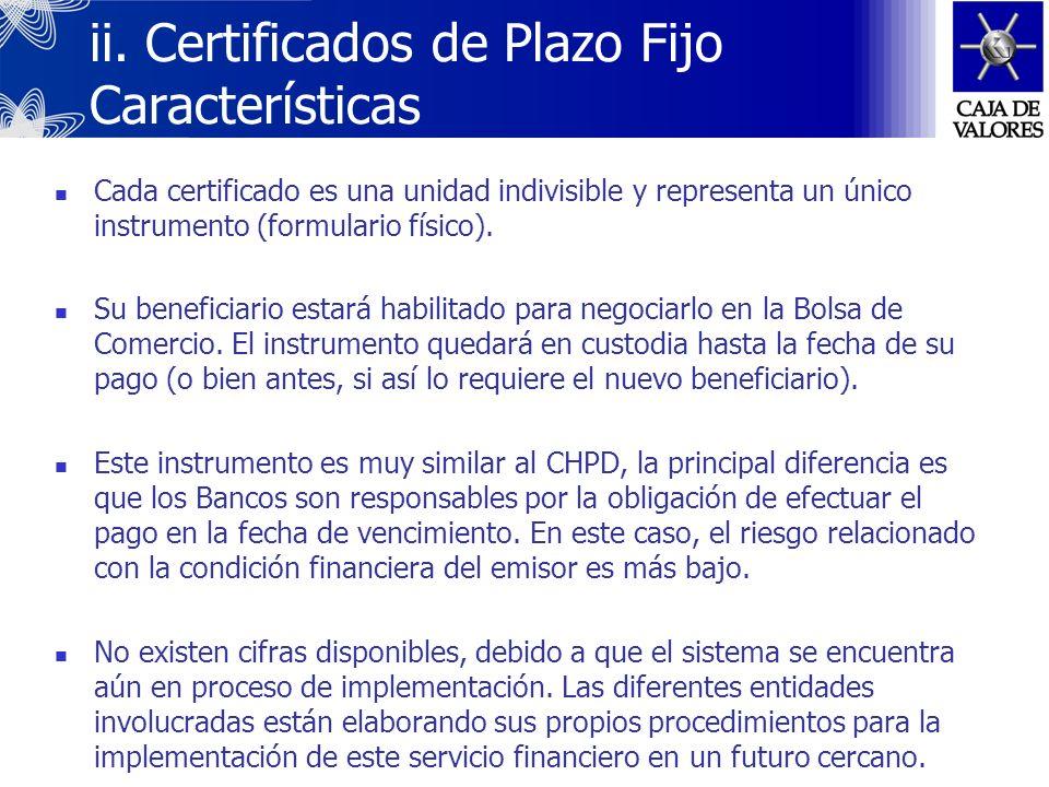 ii. Certificados de Plazo Fijo Definición y Objetivos Los certificados de Plazo Fijo, emitidos por Bancos, representan depósitos en efectivo realizado
