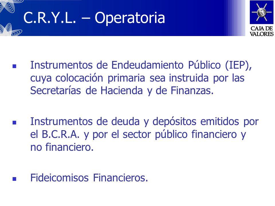 C.R.Y.L. Central de Registro y Liquidación de Pasivos Públicos y Fideicomisos Financieros Jurisdicción del B.C.R.A. Creación: Dispuesta por la Secreta